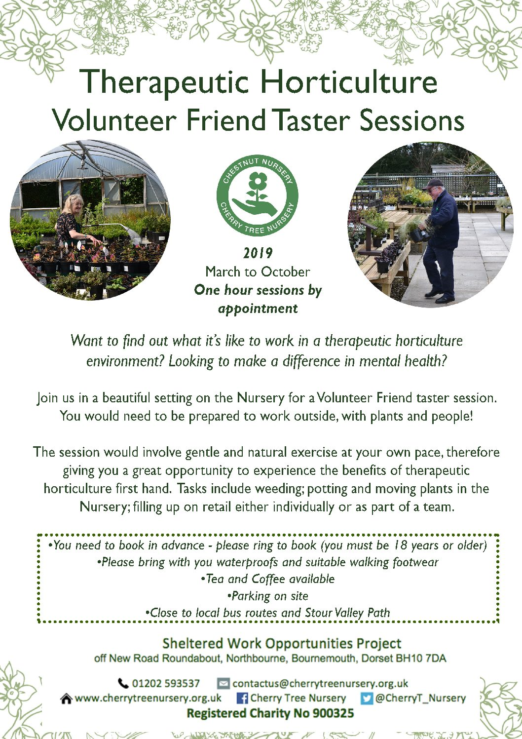 Therapeutic Horticulture Volunteer Friend taster sessions.